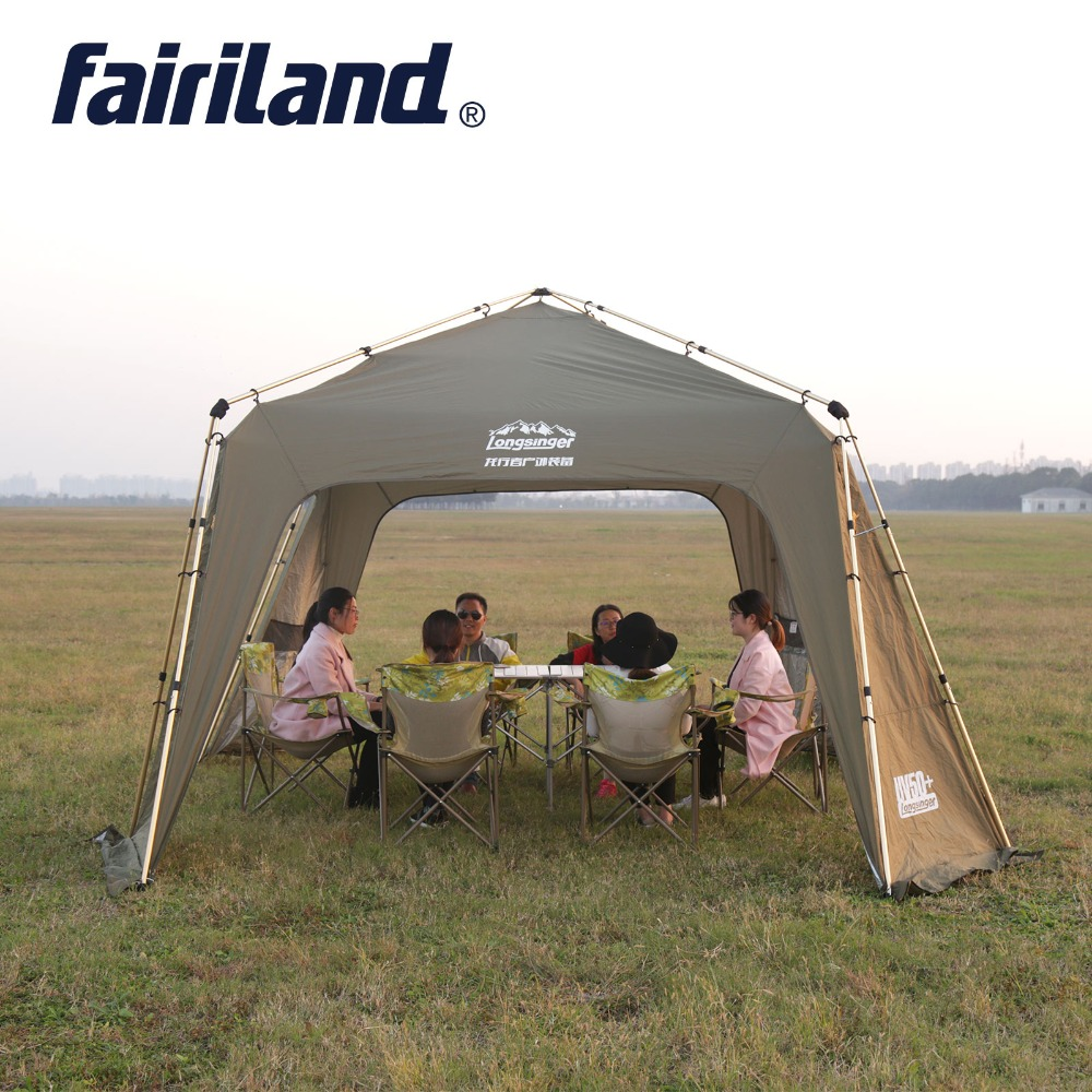 Grand Soleil Abri Automatique Instantanée Ultralarge Camping En Plein Air Tente avec Brise-Vent feuille, Moustique preuve net, tente Intérieure