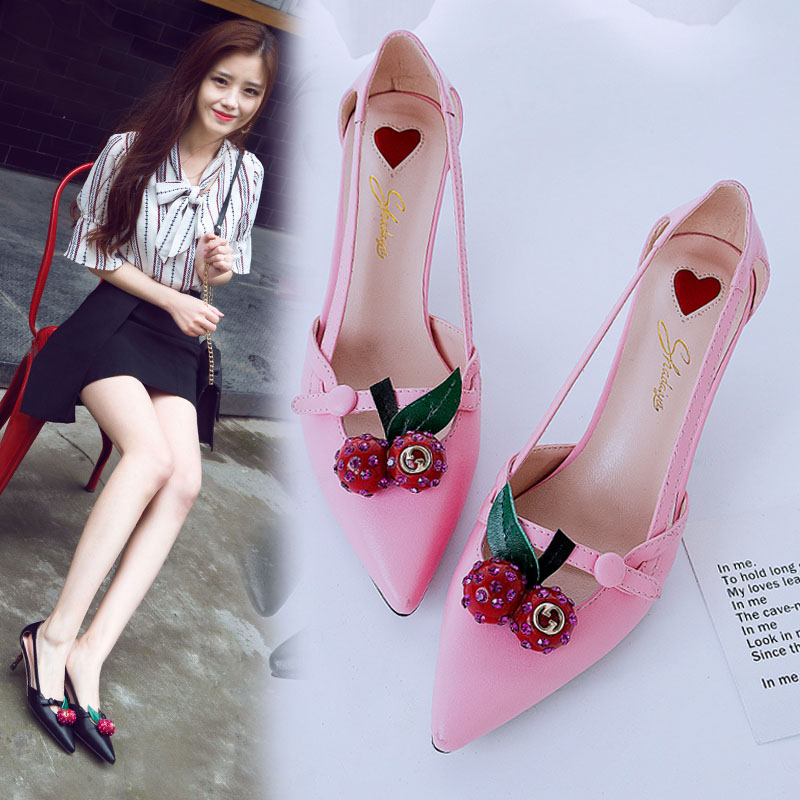 ФОТО new 2017 Spring Cute Cherry High Heel Shoes Women Pointed Toe Bamboo Thin Heel Sandals Shallow Mouth Sandals Fashion Shoes