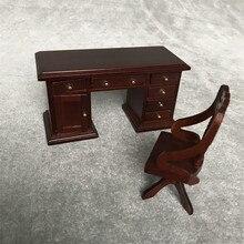 Silla de escritorio Vintage de juguete para casa de simulación 1:12 Mini casa de muñecas Mini Silla de escritorio Vintage T717