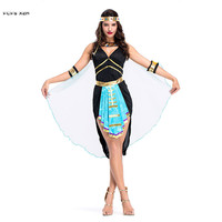 Sexy Woman Queen of Egyptian Cleopatra Cosplay Female Halloween goddess Costume Carnival Purim Masquerade stage play party dress