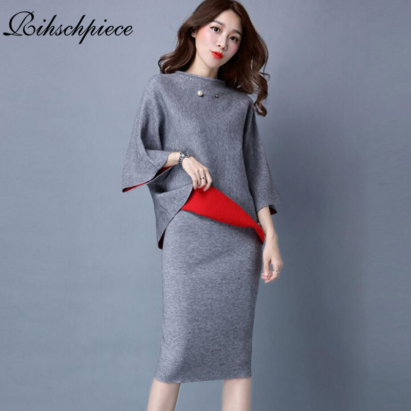 Rihschpiece 2018 OversizeTwo Piece Set Knitted Tracksuit Top and Skirt Set Cashmere Suits For Women Sportsuit Clothes RZF1104