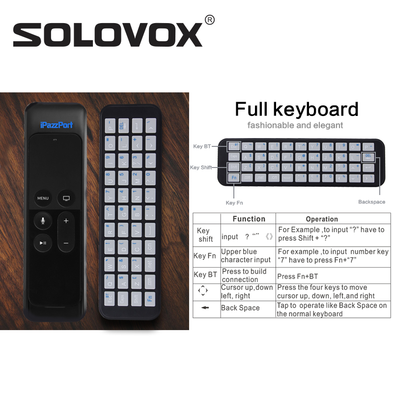 SOLOVOX KP-810-56S Mini Wireless Bluetooth Keyboard for Apple TV Box 4th Generation Siri Remote