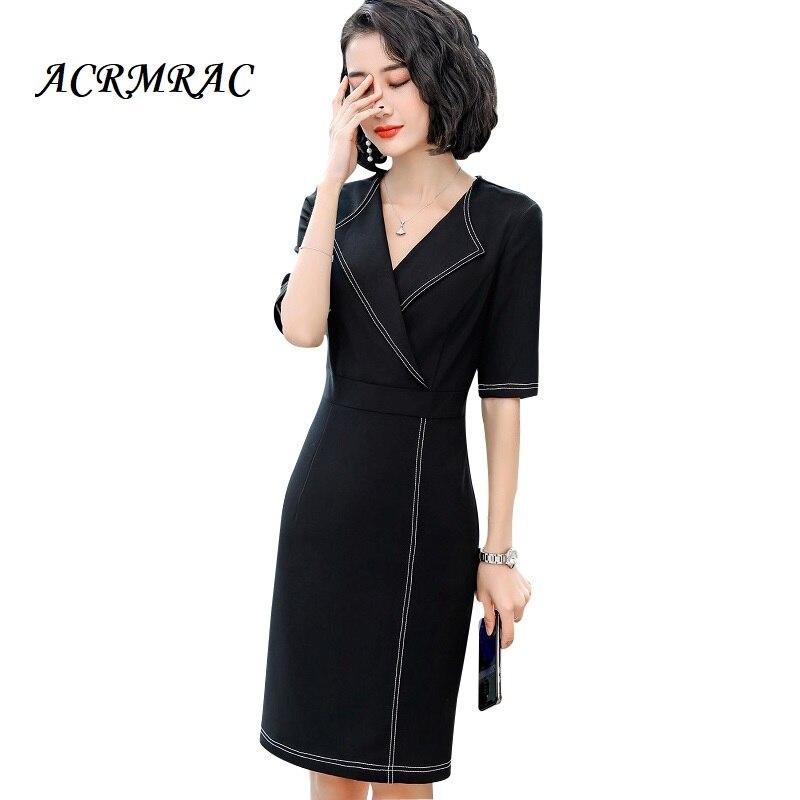 ACRMRAC femmes robe Slim à manches courtes épissure col en v OL robe formelle femmes