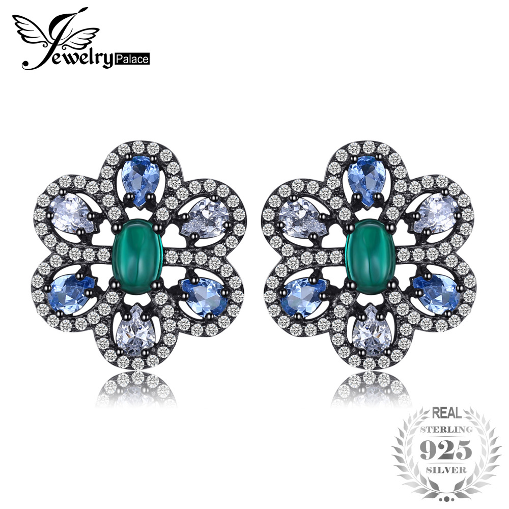 цена JewelryPalace Luxury 3.5ct Nano Russian Simulated Emerald Created Light Blue Spinel Earrings Black Gold 925
