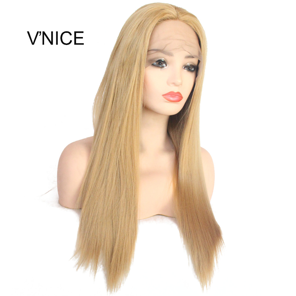 VNICE Middle Part Straight Honey Blonde Wig Heat Resistant Hair Glue-less Synthetic Lace ...