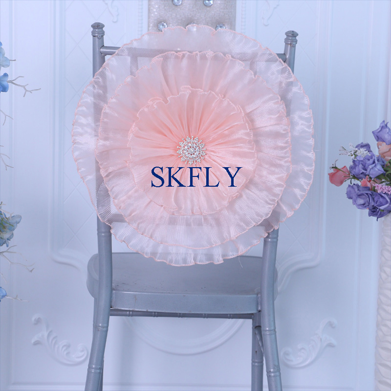 Chair Cover Ch096c Gorgeous Wedding Decorion Party 2019 New Standard Chiavari Large Crushed Blush Pink Organza Chair Flower With Buckle To Reduce Body Weight And Prolong Life Home & Garden
