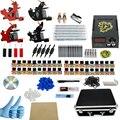 Professional 1Set Great Complete Equipment Four machine 40 color Tattoo Machine set Gun Power Supply Cord Kit Body Beauty DIY