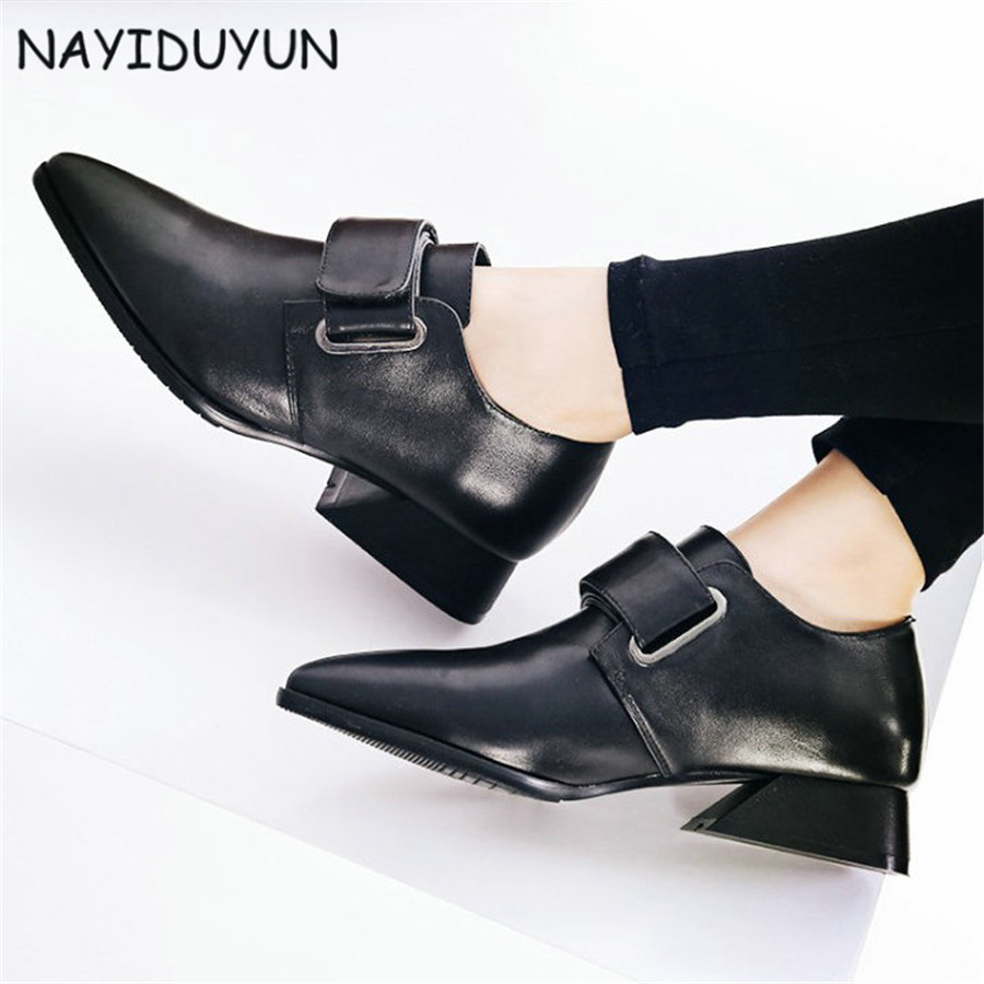 NAYIDUYUN     New Fashion Women Cow Leather Pointed Toe Office Low Heels Ankle Boots Low Top Casual Party Pumps Shoes EU34-EU42NAYIDUYUN     New Fashion Women Cow Leather Pointed Toe Office Low Heels Ankle Boots Low Top Casual Party Pumps Shoes EU34-EU42