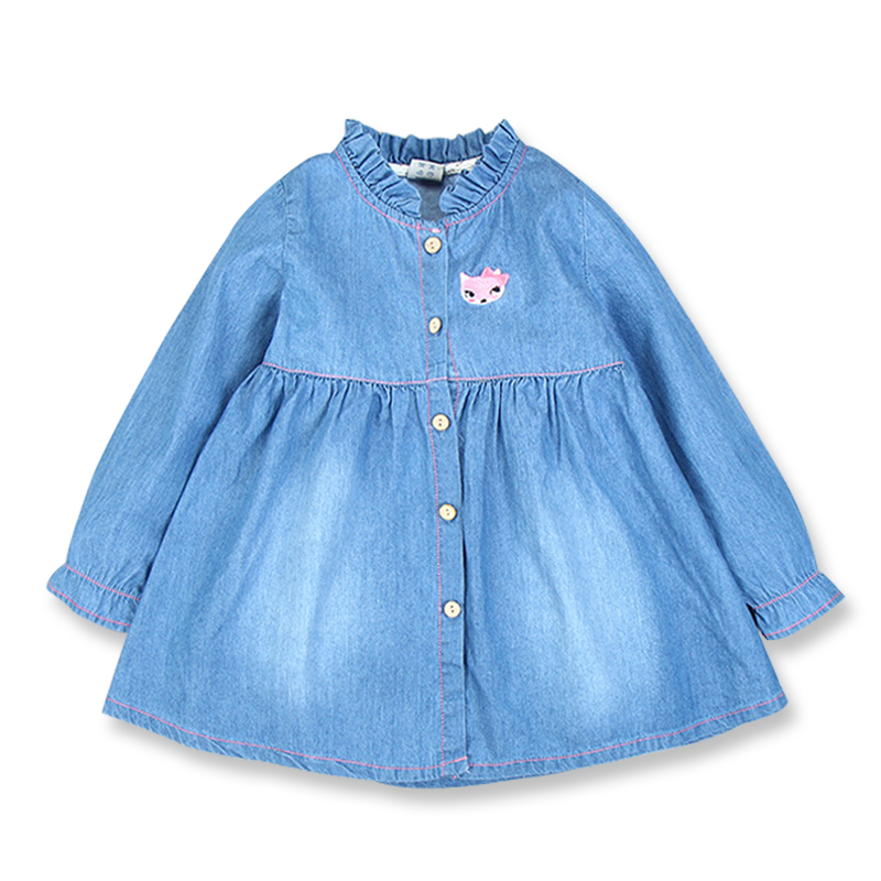 Baby Girl Dress Long Sleeve Kids Denim Dress New Spring Fall Cotton Girls Clothes Casual Denim Dresses For Girls 3-8 Years Old toddler girl dresses chinese new year lace embroidery flowers long sleeve baby girl clothes a line red dress for party spring