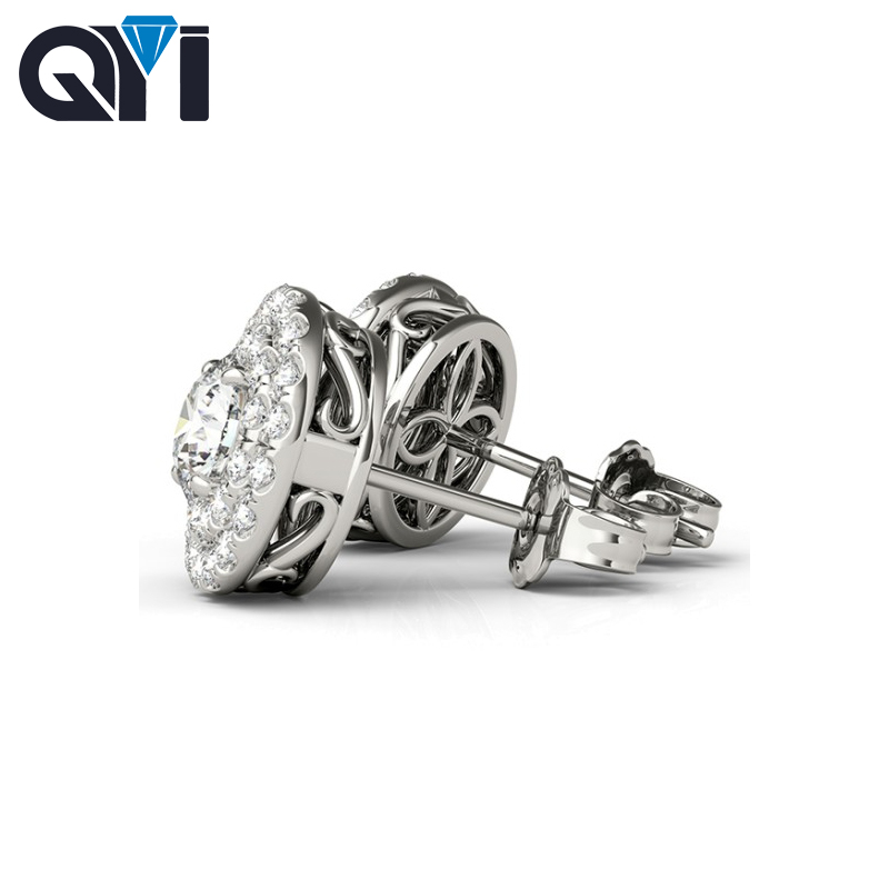 QYI 925 Sterling Silver Stud Earrings 0.8 Carat Full Round Simulated Diamond Earring White Gold Ball Stud Earrings For Women pair of stylish rhinestone triangle stud earrings for women