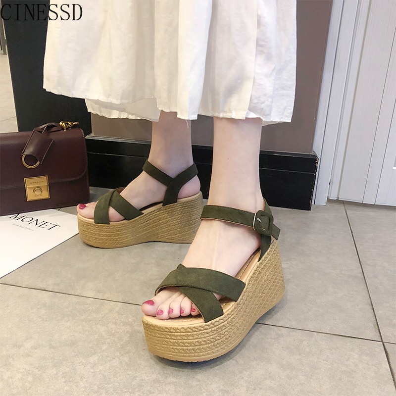 Women Sandals Roman-Shoes High-Heel Female New Thick-Bottom Slope Waterproof with One-Word