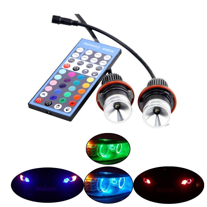 Télécommande LED rvb marqueur Angle yeux multi-couleur halo anneau lumière 12 V Canbus pour BMW E39 E53 E60 E61 E63 E64 E65 E66 X5