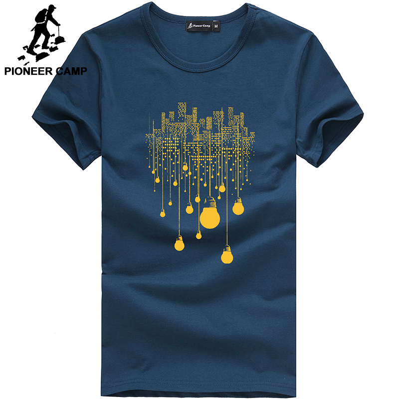 Pioneer Camp summer short t shirt men brand clothing high quality pure cotton male t shirt