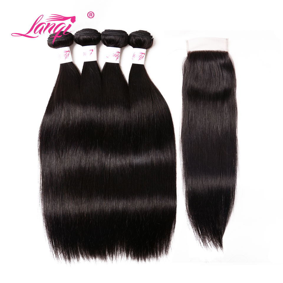Brazilian Straight Non Remy Hair 4 Bundles With Closure Human Hair Weave Bundles With Closure 4X4 Lace LanQi Hair Extensions