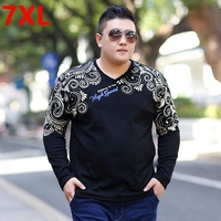 Spring Plus Size Big Size Men S Clothing T Shirt Fat Loose Fashion Print T Shirt