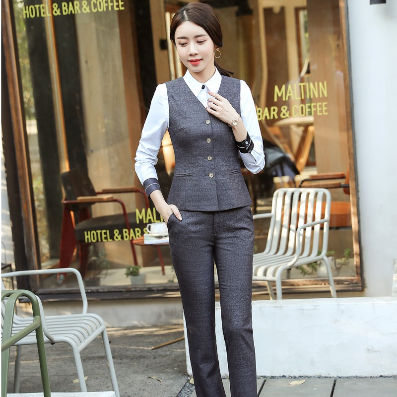9d3fbb4cc1dc Grigio Grey Le Pantalone Microfibra amp  E Elegante Con Gilet Giacche  Camicette Tailleur Cappotto black In Signore Pantaloni Set Di ...