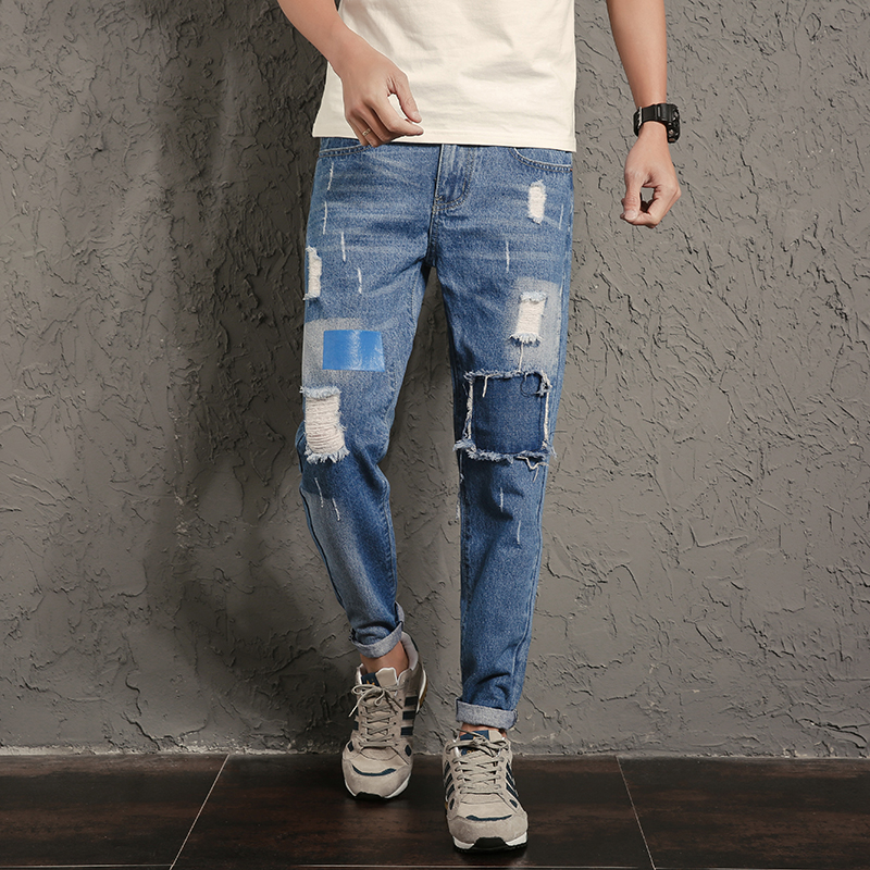 New Arrivals Hip Hop Style Jeans Men Pants Big Patch Ripped Jeans Men Korean Fashion Jeans Male