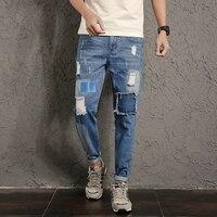 New Arrivals Hip Hop Style Jeans Men Pants Big Patch Ripped Jeans Men Korean Fashion Jeans