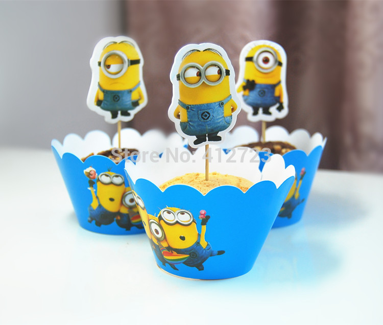 New Minions Baby Shower Cake Decorations Kids Birthday Party Cakecup  Wrappers And Picks Toppers Cupcake Case Tool 24pcs On Aliexpress.com |  Alibaba Group