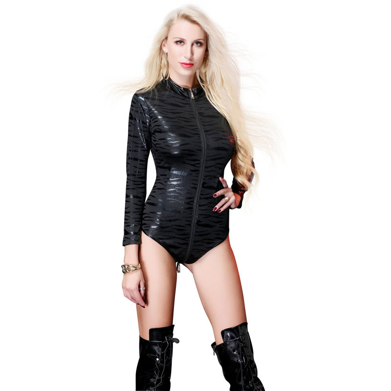 Women's Sexy Exotic Patent Leather Teddies Costumes  with Front Zip For Bar  Clubwear Stripper  Party Fancy Dress