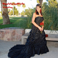 Gothic Taffeta Black Wedding Dress Strapless Elegant And Unique Bridal Gown Classy Vestido Casamento Online Shop