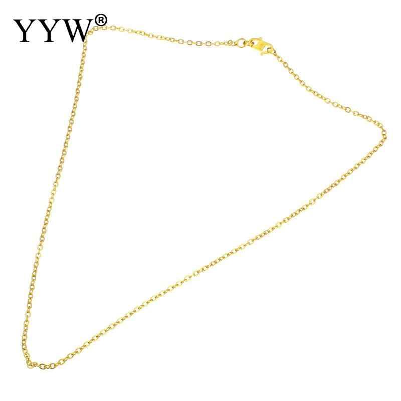ขายส่งราคา 24 K ชุบทองเหลืองสร้อยคอผู้หญิงโซ่ทองเหลืองจำนวนมากสำหรับเครื่องประดับทำ DIY