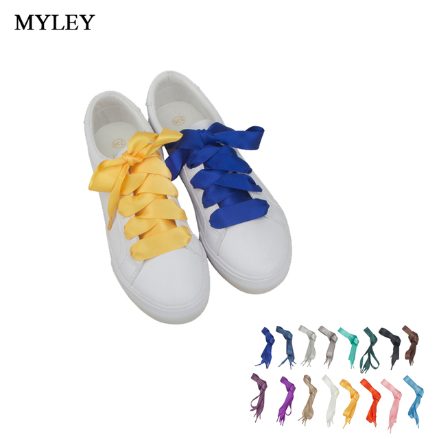 14d7fb409885a6 MYLEY 1 Pair 120CM Fashion Shoestrings Women Shoelaces Flat Silk Satin  Ribbon Shoe Laces Sneakers Sport Shoes