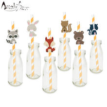 Woodland Creatures Straw 24PCS Paper Straws Birthday Party Festive Supplies Decoration Paper Drinking Straws Animals Straws(China)