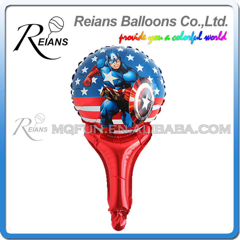 Image 3 - 5pcs avenger super hero stick balloons cartoon figure handheld foil balloons party supplies birthday party decorations kids toys-in Ballons & Accessories from Home & Garden