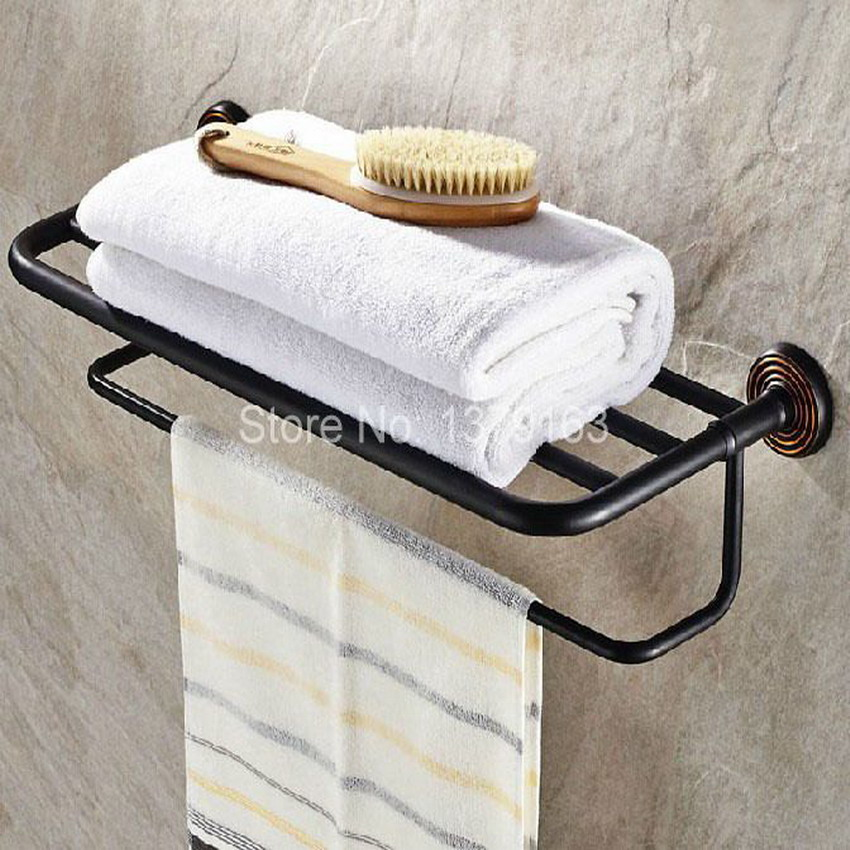 Bathroom Accessory Fitting Black Oil Rubbed Bronze Wall Mounted Bathroom towel racks towel bar Rack Shelf Holder aba066 modern wall mounted bathroom oil rubbed bronze towel rack shelf with towel bar