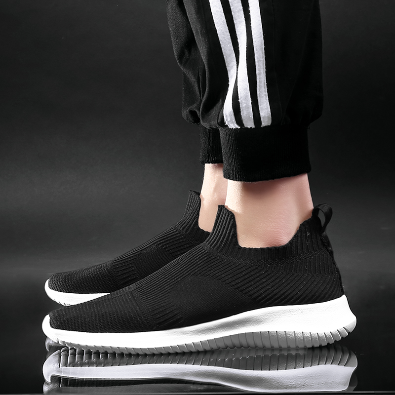 Solid White Fashion Knitting Casual Shoes Men Super Light Breathable Stretch Socks Sneakers Slip On Tenis Masculino Black 3