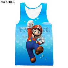 YX Girl Mens Summer Cartoon Tank Tops Super Mario 3d Printed Top For Men Women Casual Vest Cool Sleeveless Tees