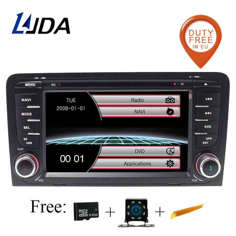 LJDA 2 din 7 дюймов, автомобильный, мультимедийный DVD плеер для Audi A3 RS3 2003 2011 автоматическое радио GPS навигации рулевое колесо управления стерео SD