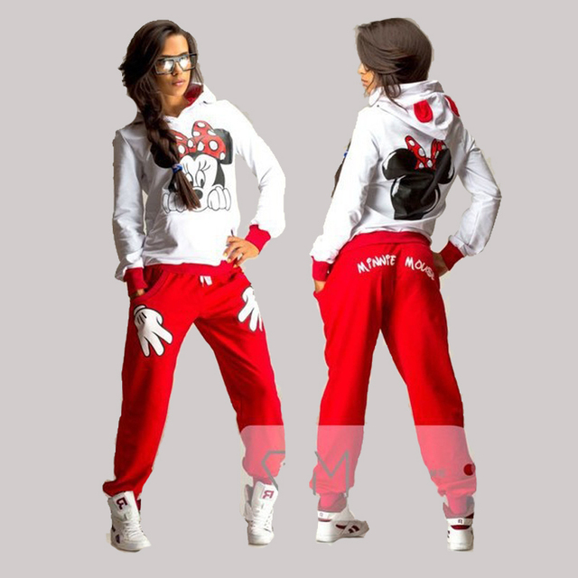 XUANSHOW Mujeres Conjunto Ropa Deportiva Casual Lindo Del Oído Del Ratón de la Historieta Impresa Con Capucha de manga larga Traje Chándal Femme Tenue