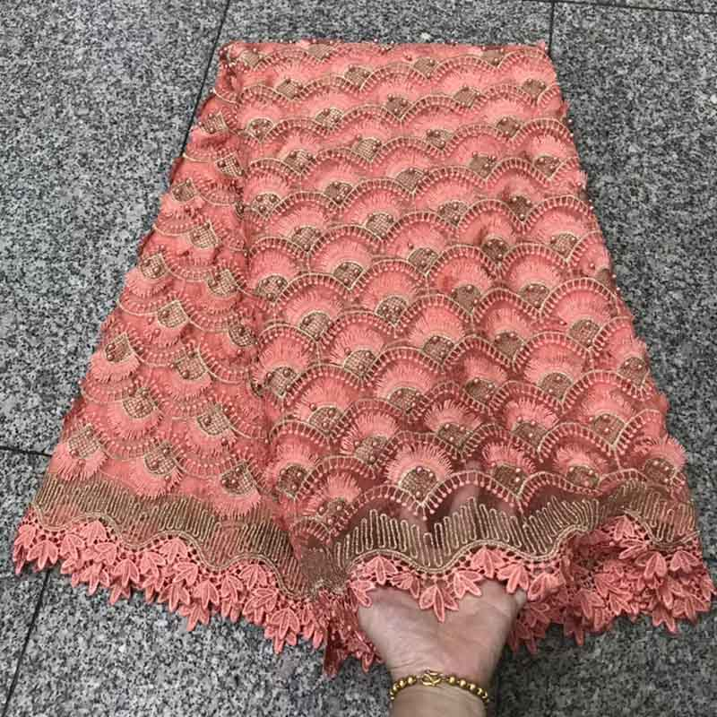 Peach Color African Lace Fabric with Beaded 2018 Nigerian Lace Fabric Bridal High Quality French Tulle