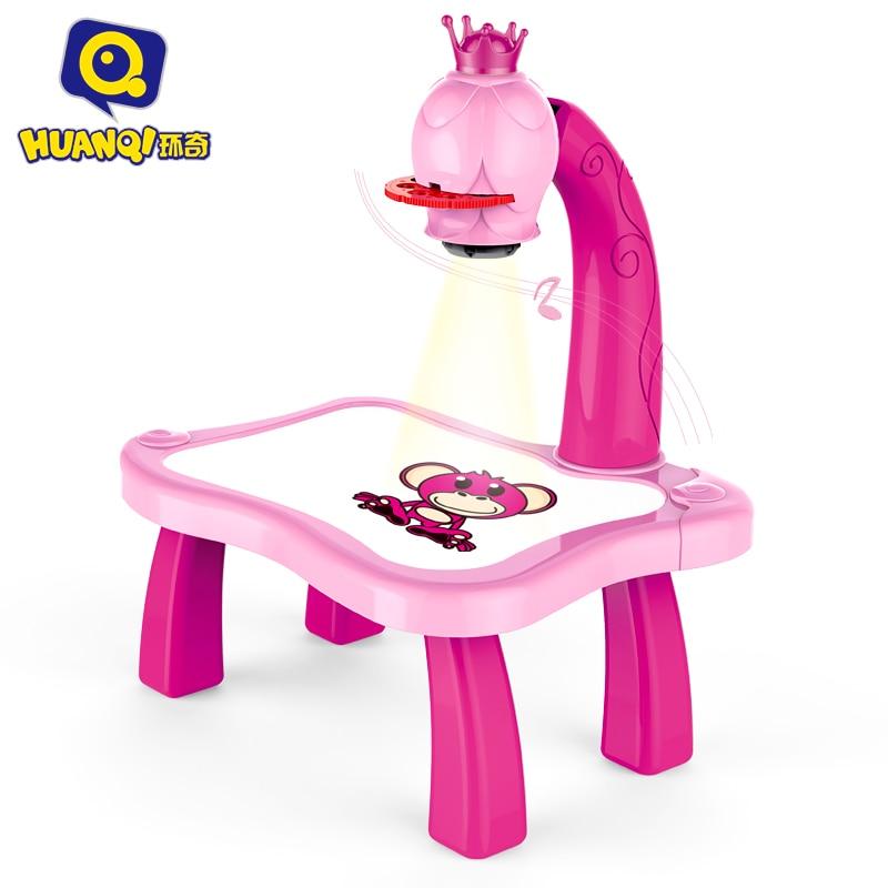 Детские Многофункциональные обучающие игрушки для рисования, наборы для рисования, игрушка проектор, обучающий стол для рисования, 12 ручек,