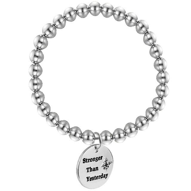 Inspirational Quotes Disc Bracelets Silver Engraved Stainless Steel Beads Charm Men Fitness Jewelry Gym Gifts