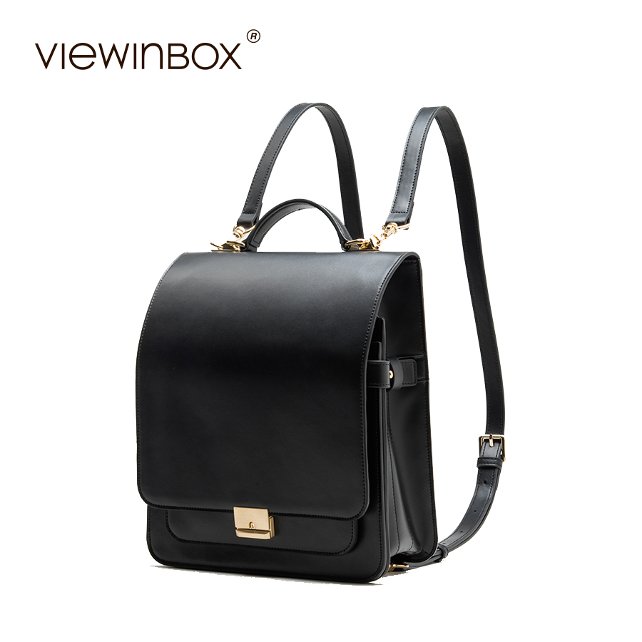 Viewinbox Women's Backpack Japennese Style Backpack Fashion Women's Split Cattle Leather Bag Female School Backpacks For Girl classic designer style women small backpack cattle split leather backpack with nylon inside