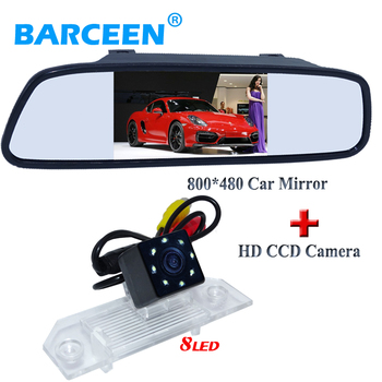 800*480  car reversing mirror monitor with original plastic shell car rearview camera 8 led and ccd image for  Ford-focus sedan