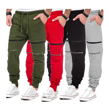 2018 Cotton Mens Pure color leisure Joggers Multi-pocket Zipper decoration Sweatpants Men Fitness Workout  Pants Free Shipping