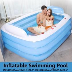 180cm/150cm Foldable Bathtub Inflatable Bath Tub For Adults Keep Warm Swiming Pool Bathtub With Air Pump Bathing Tub