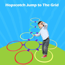цена на Hopscotch Jump to the Grid Toy for Kids Sensory Outdoor Toys Sports Jumping Ring Preschool Teaching Aid Children  28cm 5.16