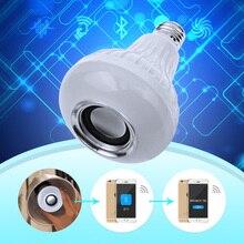 цена на Smart RGBW Wireless Bluetooth Speaker Bulb Music Playing Dimmable 12W E27 LED Bulb Light Lamp with 24 Keys Remote Control