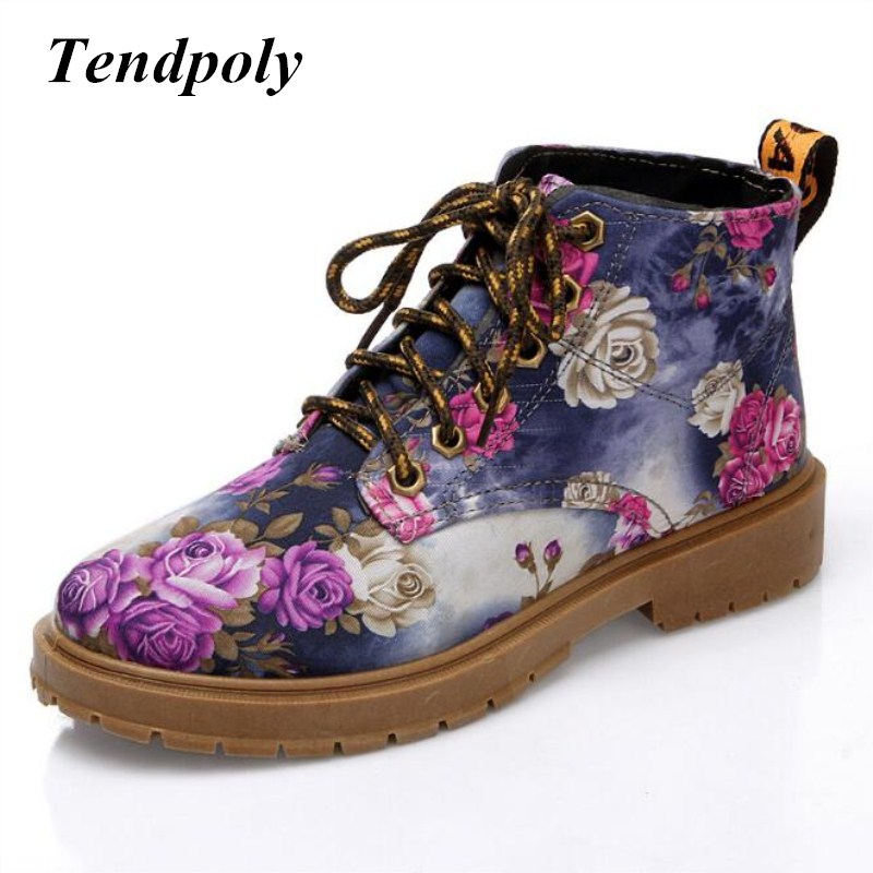 New retro short boots 2018 spring and autumn high-top with printing trendy wild women's boots hot section floral casual shoes