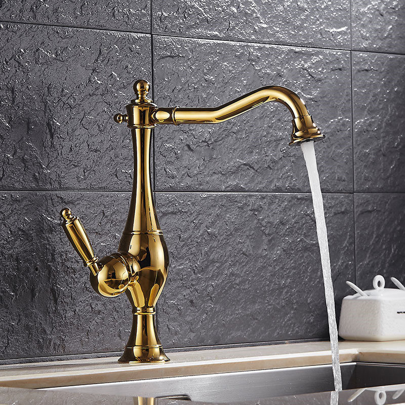 Kitchen Faucet Golden Brass finish Kitchen Faucet Copper Kitchen Sink Mixer Tap Crane Faucet Deck Mounted Hot Cold Tap Torneiras