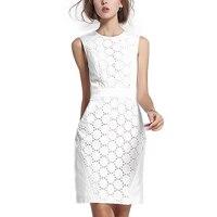 2017 New Summer Women White Lace Dress Fashion Sleeveless O Neck Elegant Lady Office Dress Female