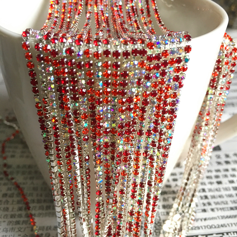 Wholesale 1 Row 1 yard SS6 Cystal Rhinestone Trim Close Cup Chain Claw DIY Jewelry Making in Jewelry Findings Components from Jewelry Accessories