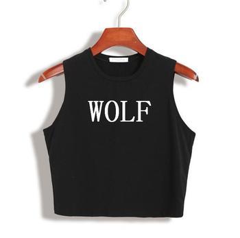 Camiseta corta con estampado de lobo de algodón de verano para mujer, camiseta Hipster ajustada sexi para chica, Camiseta corta con HH305-130 negra