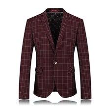 YJSFG HOUSE England Style Plaid Blazer Men Stylish Luxury Formal Dress Blazer Masculino Jacket Casual One Button Jacket Coats