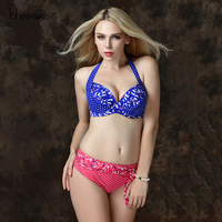 BLESSKISS Super Push Up Swimwear Women Bikini 2017 New Plus Size Print Halter High Waist Swimsuit